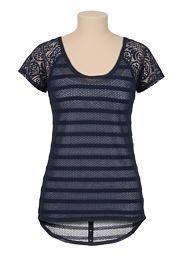 shadow stripe lace sleeve hacci tee