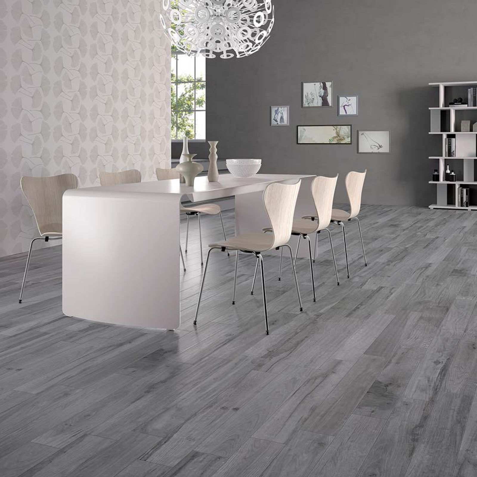 Modern Dining Area With Tiles From Soleras Collection By Abk Gray Wood Tile Flooring House Flooring Wood Tile Floors #wooden #tiles #living #room