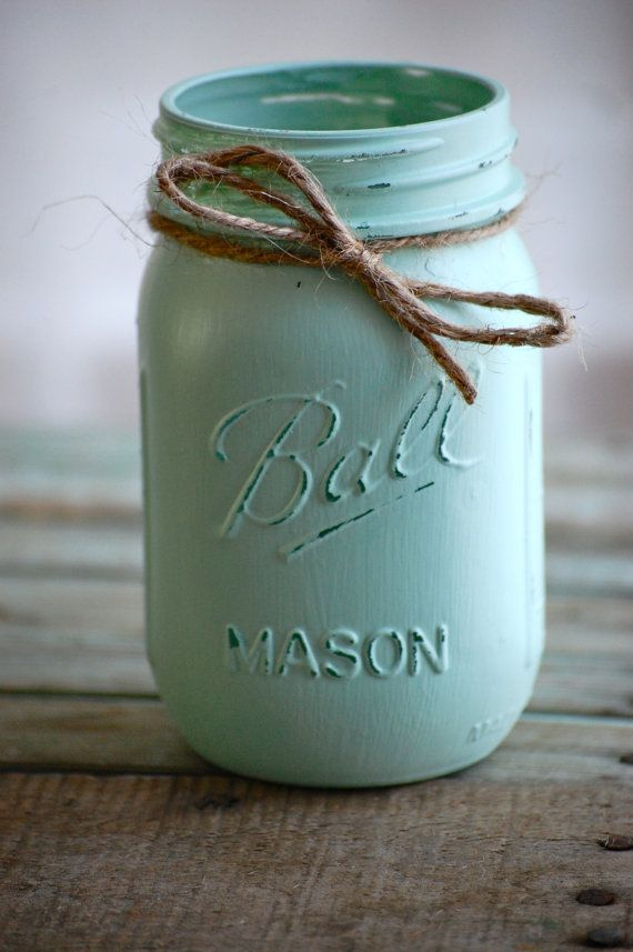 Painted & distressed pint sized mason jars, rustic mason jar, country mason jar, rustic wedding decor, rustic home decor, shabby chic decor on Etsy, $5.00