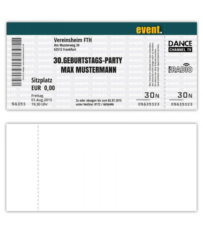 Einladungskarte Zum Geburtstag Als Eintrittskarte Ticket Konzertkarte Partyticket Einladungskarten Geburtstag Einladungen Konzertkarten