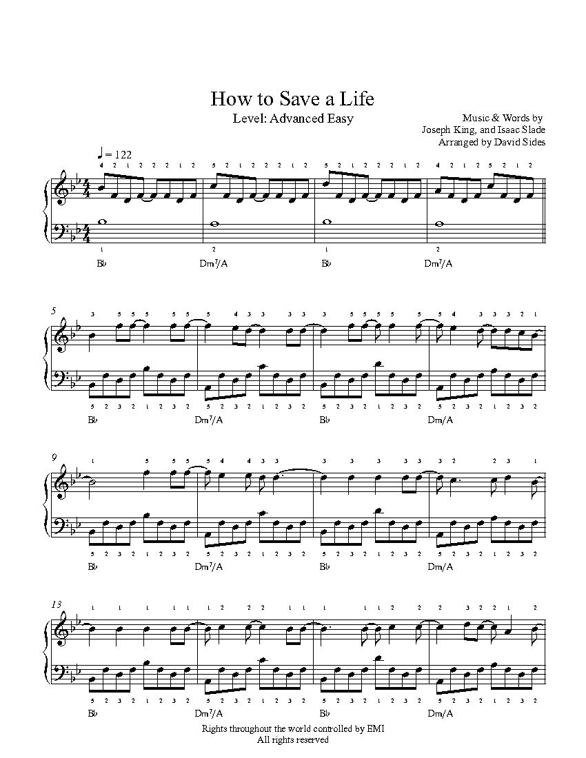 How To Save A Life By The Fray Piano Sheet Music Advanced Level Piano Sheet Music Sheet Music Piano Sheet