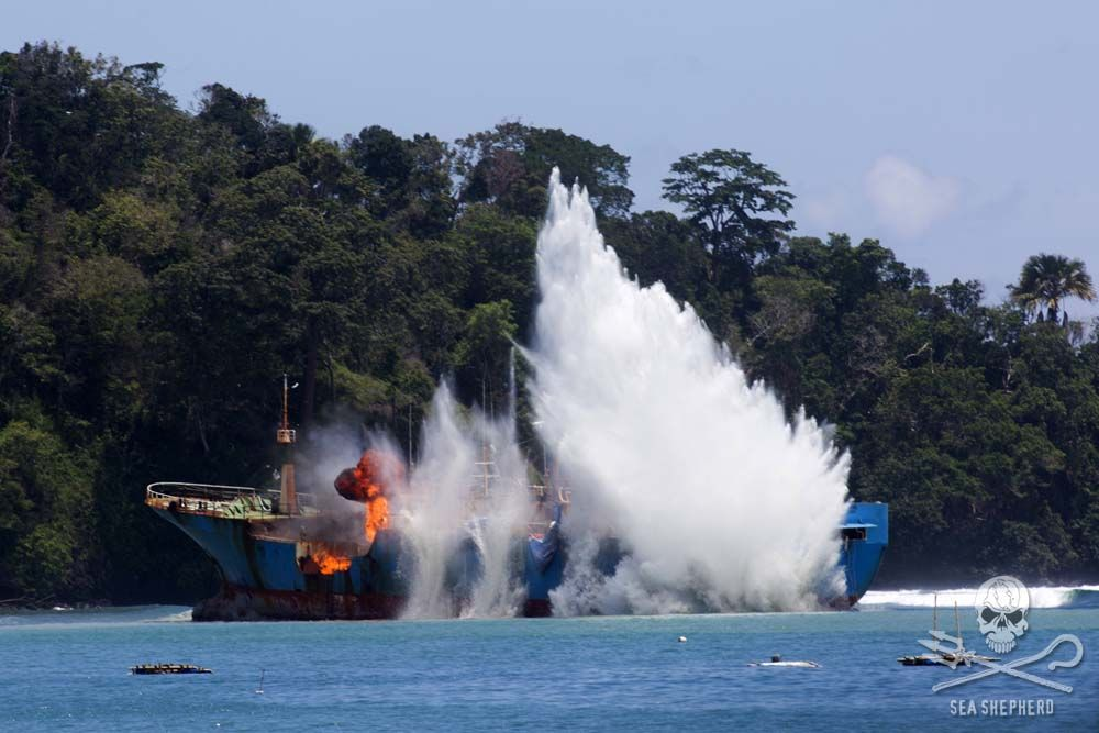 PHOTOS: Indonesia Blows Up Notorious Fishing Poaching Vessel Victory