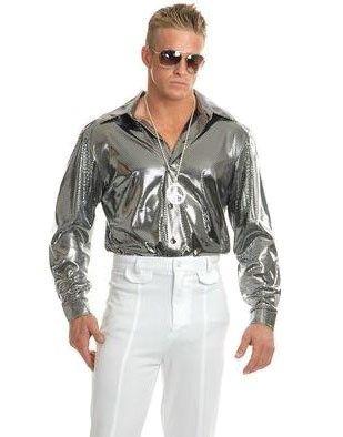 cbc68c555 Mens Medium 40-42 Metallic Silver Disco Costume Shirt, Men's, Size: Medium:  40-42' chest, approx 170-190lbs