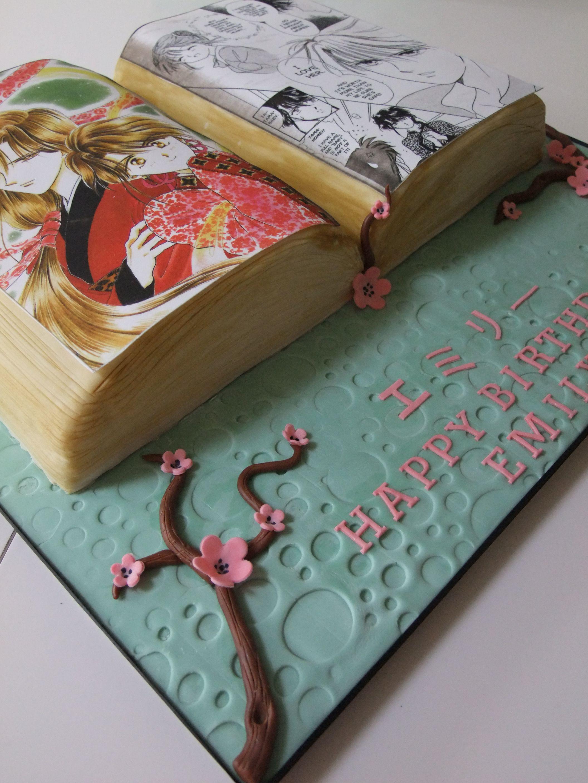 Manga Cartoon Book Japanese Cherry Blossom Birthday Cake Birthday