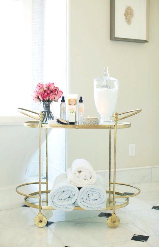 Gold Bar Cart In Bathroom Bar Furniture Interior Home Decor
