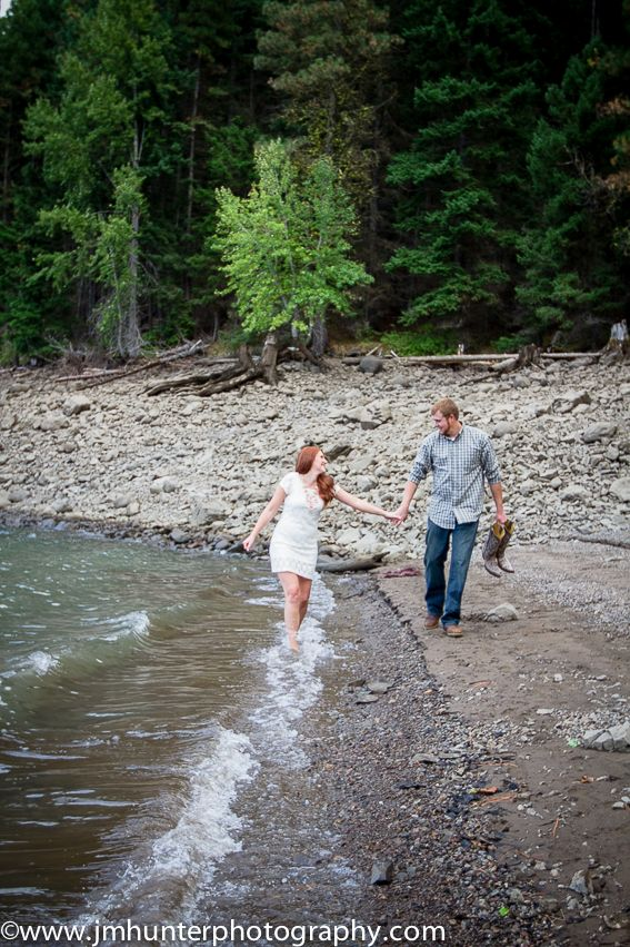 Engagement photo, engagement ideas, J.M.Hunter Photography, Jmhunter, lake engagement, woodsy engagement, washington, rimrock lake, Jessica Hunter, Jessica M Hunter, Jess Hunter, Photography, country, country engagement session, Yakima photographer, wedding photography, fall, autumn, picture with shoes off, forest engagement