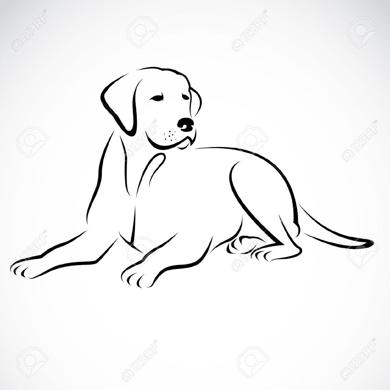 Stock vector tats animal drawings dog line drawing dog silhouette