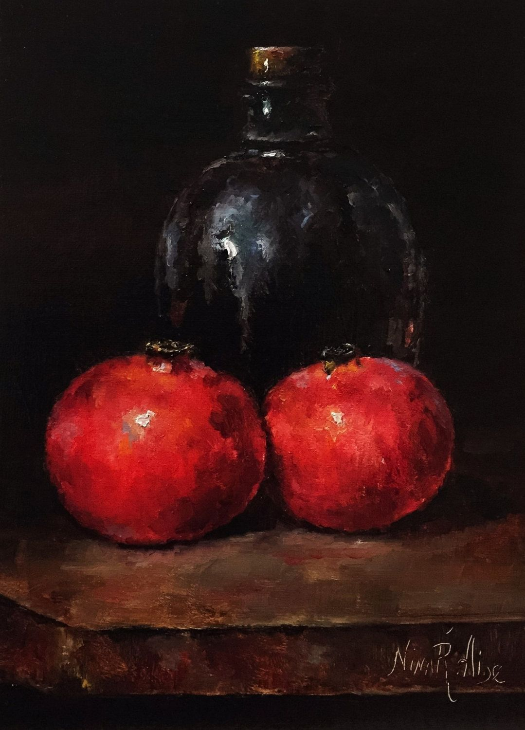 Pomegranate Wine Original Oil Painting By Nina R Aide Fine Art Fruit Small Painting Traditional Classic Art Chia Original Oil Painting Pomegranate Original Oil