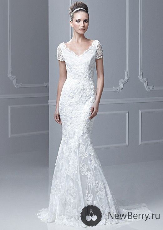 V-neck modest lace wedding dress with cap sleeves. #lace #modest ...
