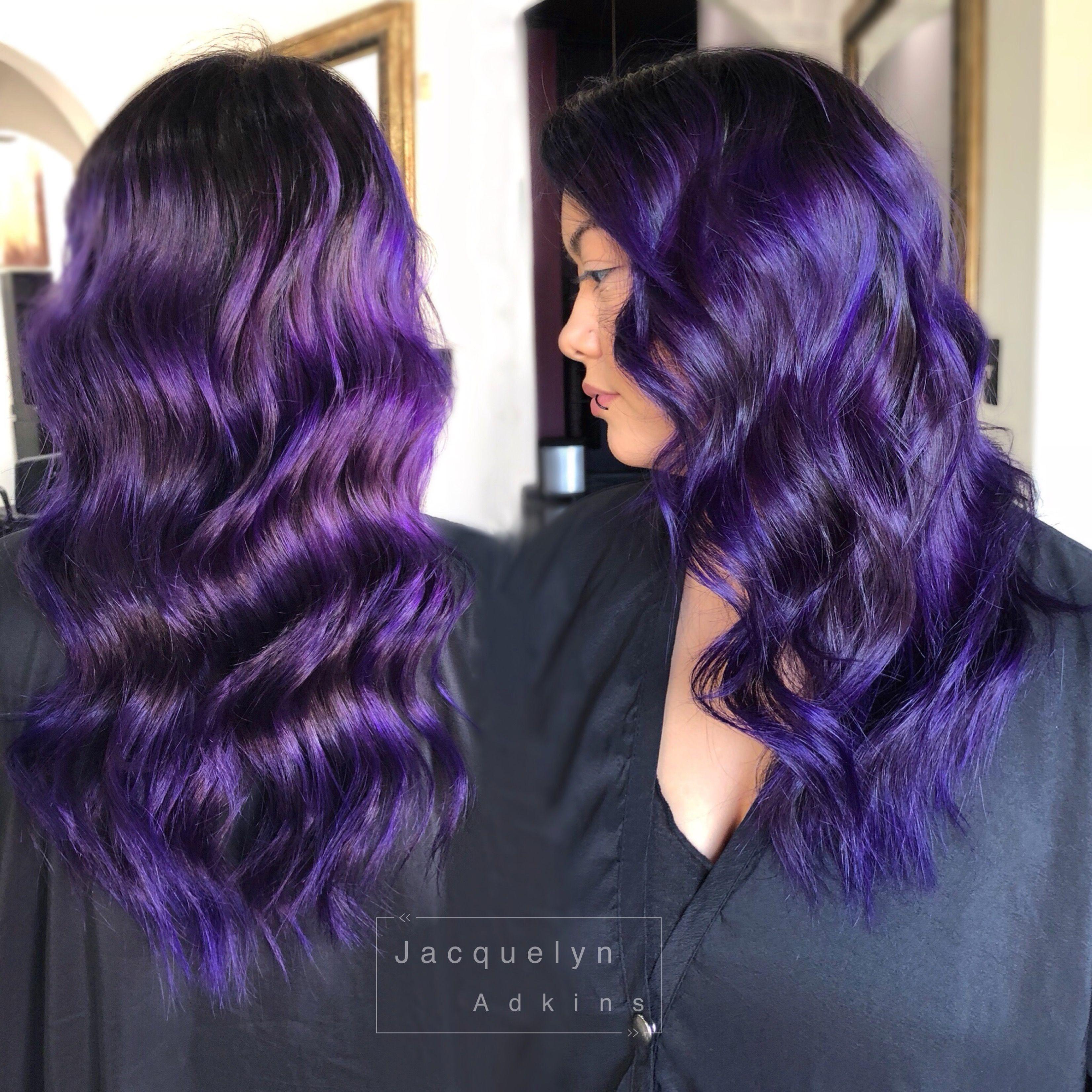 Follow My Instagram Unevneib Dark Hair Violet Hair Violet Balayage Purple Hair Deep Purple Hair Prav Pravana Hair Color Curls For Long Hair Deep Purple Hair
