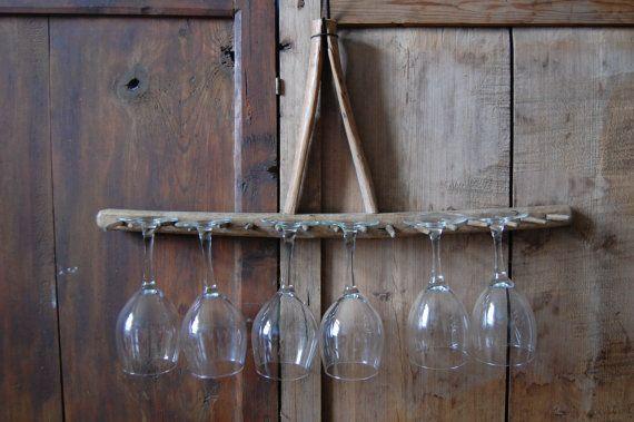 Antike rake kopf primitive weinglas halter holz rechen rechen b gel haken rack rechen kopf - Holzsparren kaufen ...