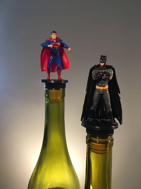 superman batman bottle stopper set use in liquor or wine bottle