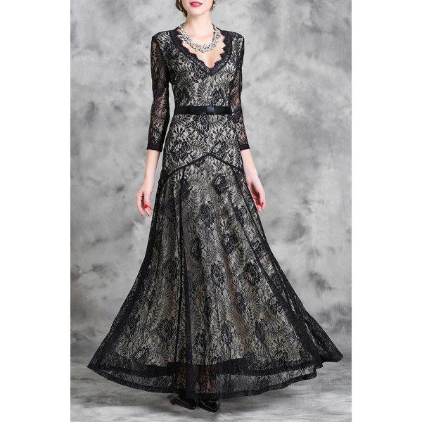$38.13 Stylish Plunging Neck 3/4 Sleeve Lace Women's Maxi Dress - Black
