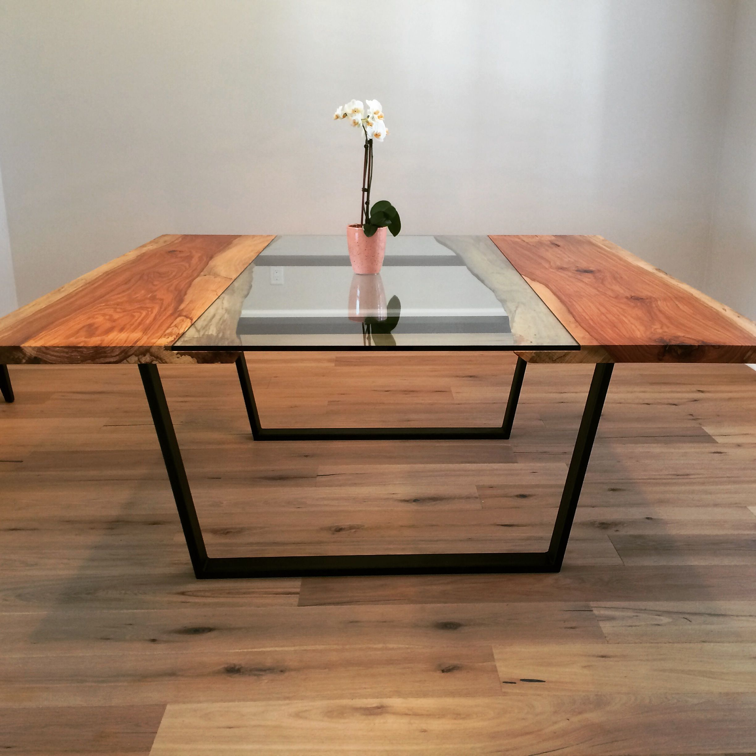 Custom Made Pecan Glass Square Dining Table Live Edge Dining