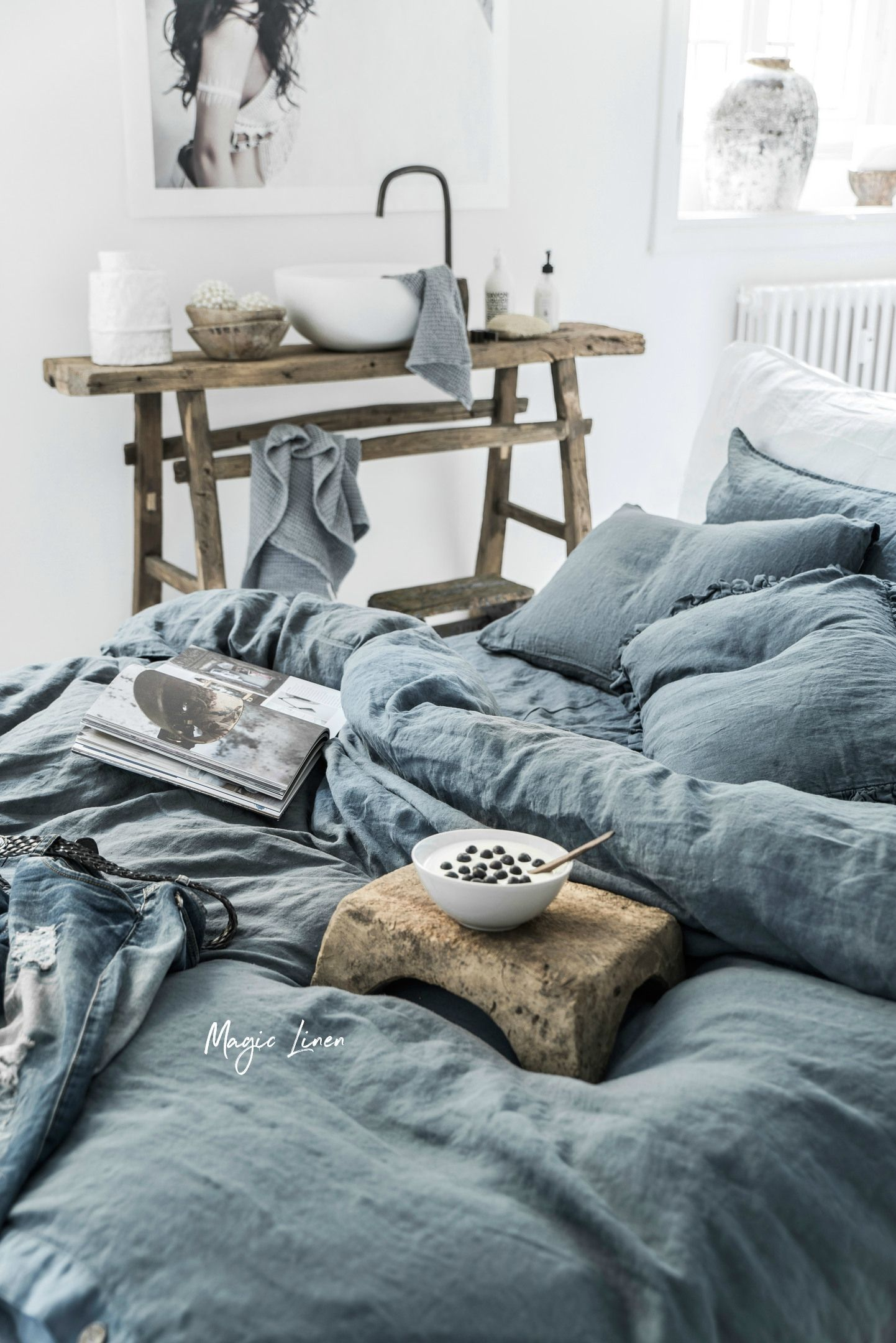 Gray Blue Linen Duvet Cover Bedroom Design Bedroom Inspirations