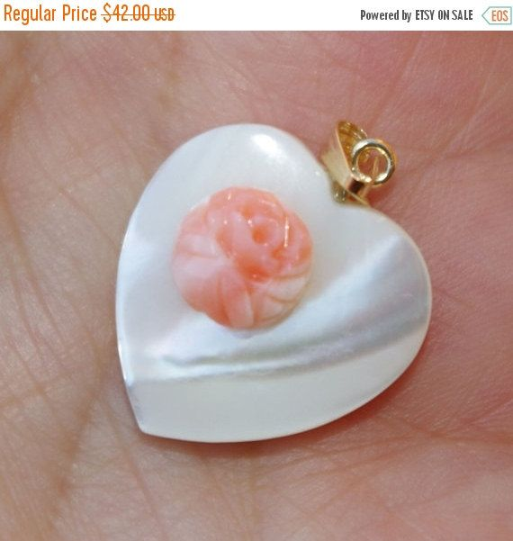 14K Gold Mother Of Pearl MOP Heart W Rose Ange Skin Coral Asian