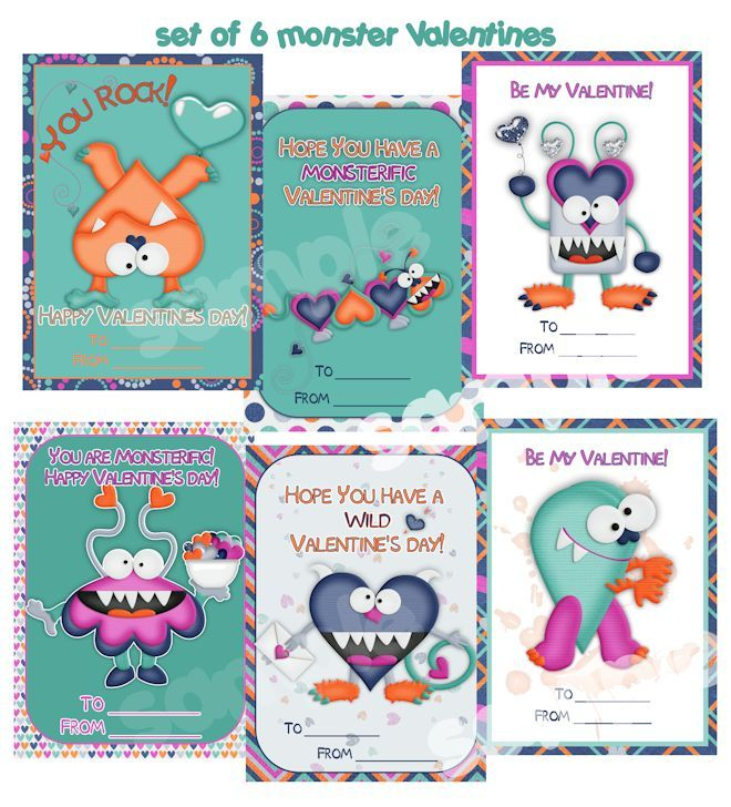 Valentines Cards Kids Monster Valentines Card Custom Valentines – Monster Valentine Cards