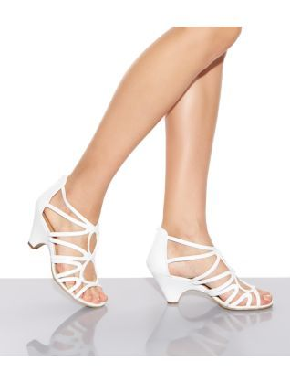 cad18d40008d 17.99 White (White) White Strappy Cut Out Low Heel Peeptoe Sandals ...