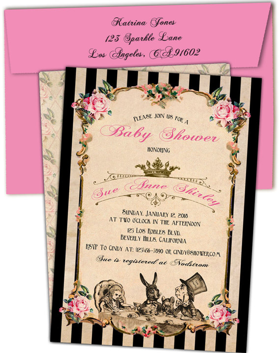 Mad Hatter Baby Shower Invites Invitations Queen Of Hearts Party Invitation M