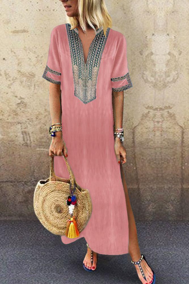 Sexy Side Split V Neck Printed Casual Vintage Dresses #vintagedresses