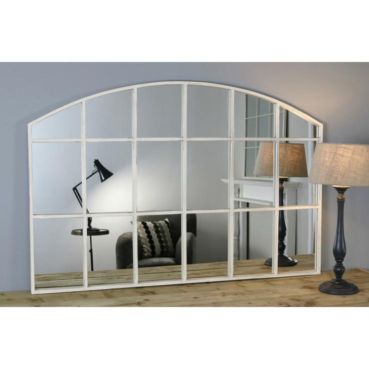 Bridgewater Vintage White Industrial Arched Window Mirror 48 X 32 120cm X 80cm In 2020 Arched Window Mirror Window Mirror Arched Windows