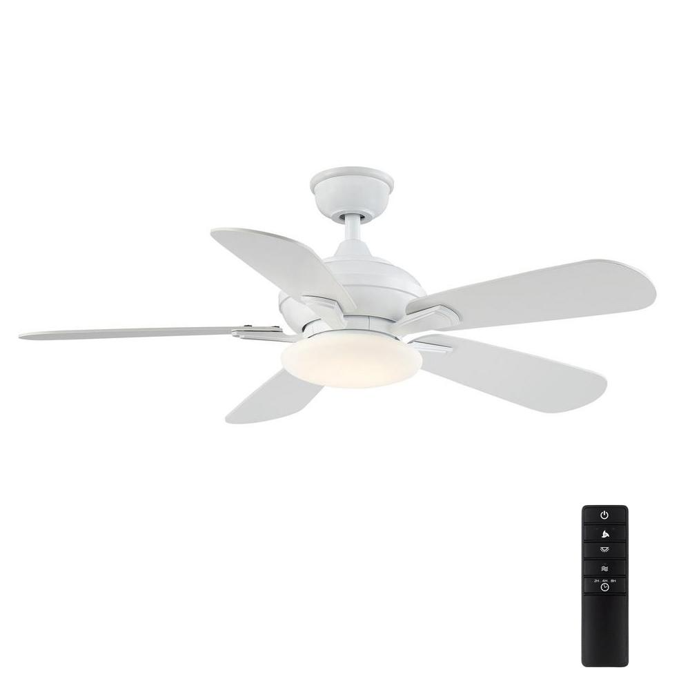 Home Decorators Collection Benson 44 In Led White Ceiling Fan With Light And Remote Control Yg654 Wh The Home Depot In 2021 Ceiling Fan With Light White Ceiling Fan Ceiling Fan