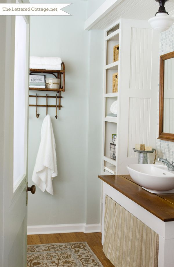 Cottage bathroom the lettered cottage revealed september for Sea bathroom ideas