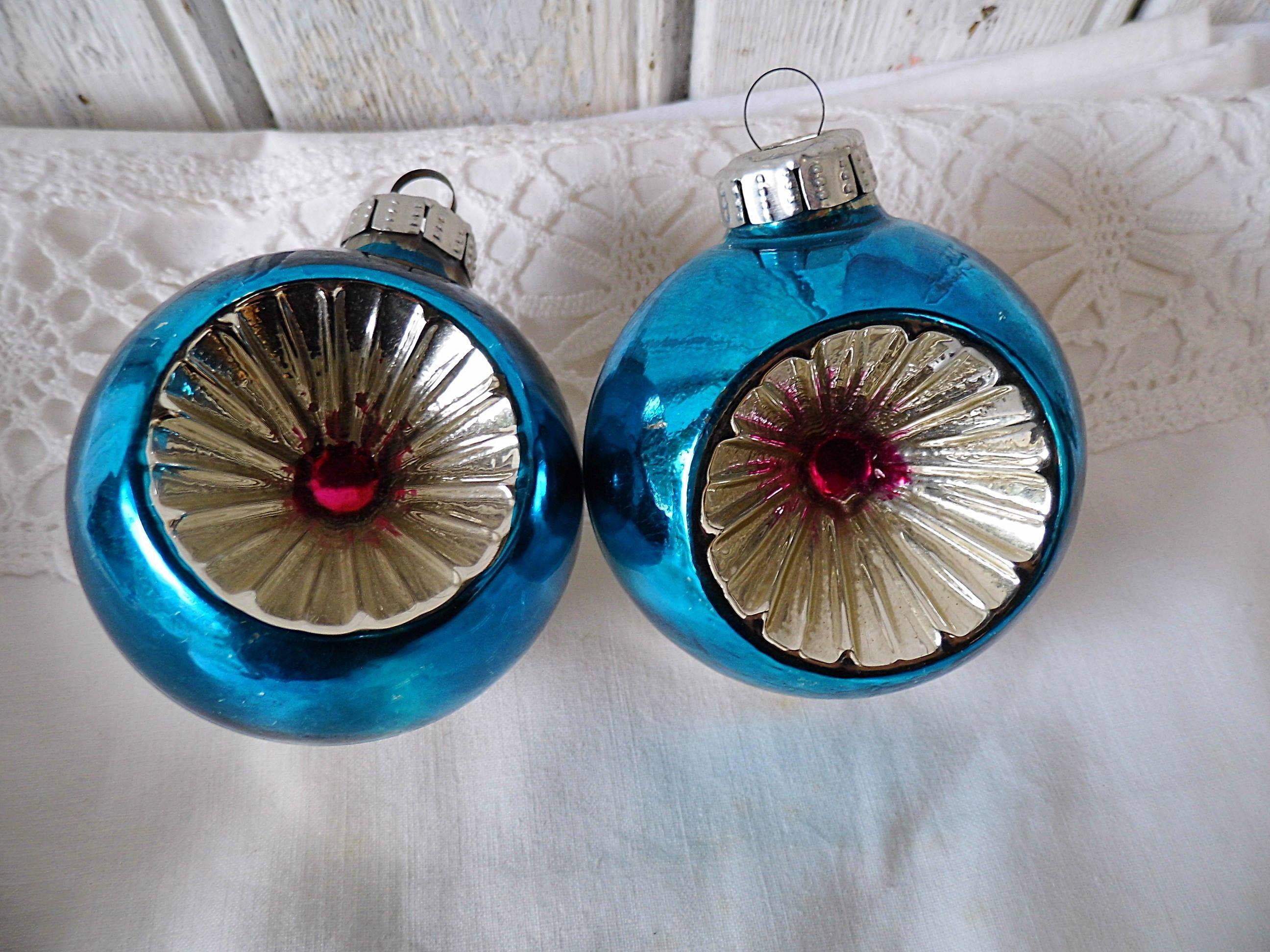 Weihnachtskugeln Glas Set 2 blaue Weihnachtskugeln   uralter Christbaumschmuck