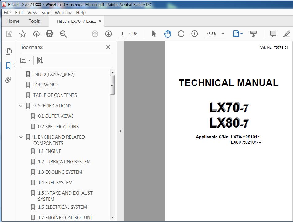 Hitachi Lx70 7 Lx80 7 Wheel Loader Technical Manual T077e 01 Pdf Download In 2021 Hitachi Manual Parts Catalog
