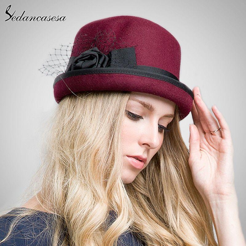 01c649b73d8ec4 Autumn Winter Vintage 100% Wool Felt Handmade Flowers Fedoras Hats for Women  Bowler Feminino Ladies Chapeau