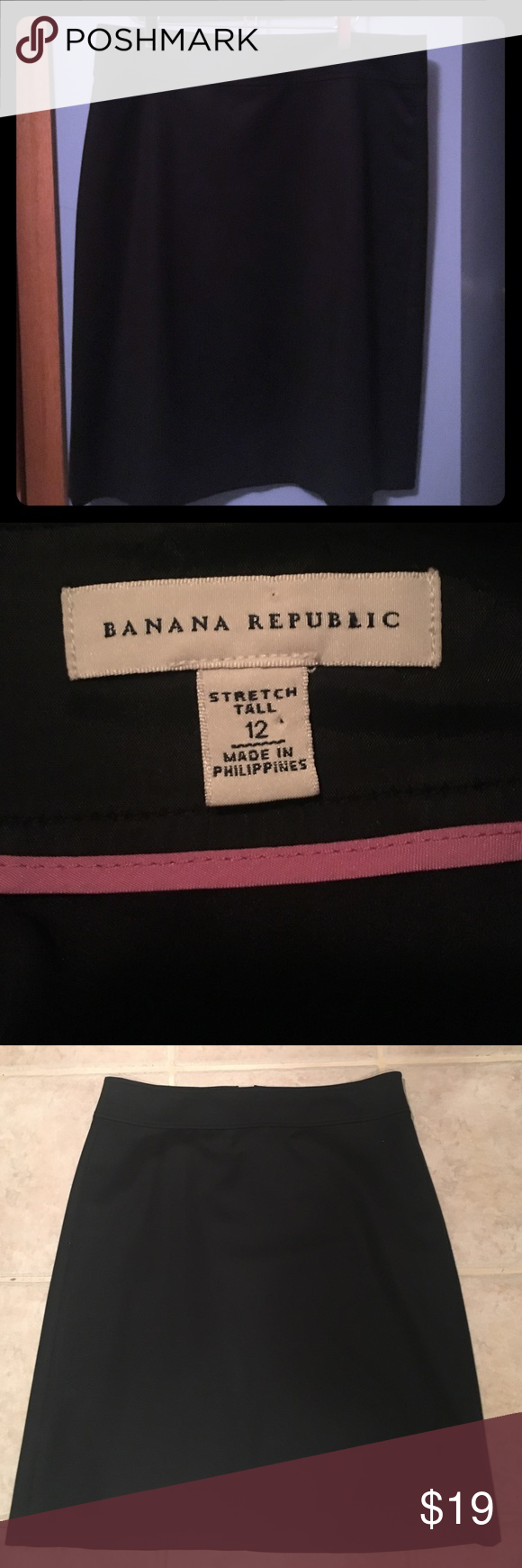 "Banana Republic black skirt Lined black skirt-gorgeous. Approx. 17"" waist, 20"" hips & measures 24"" top to bottom. Banana Republic Skirts Pencil"