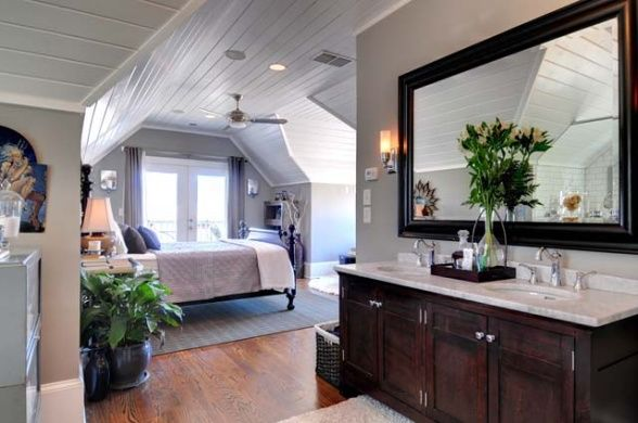 Cottage master suite with open bathroom set within the eaves of a front gable victorian cottage Open master bedroom and bathroom ideas