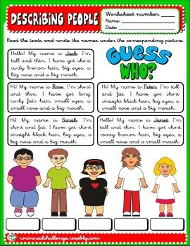 Describing people worksheet | Grammar | Pinterest