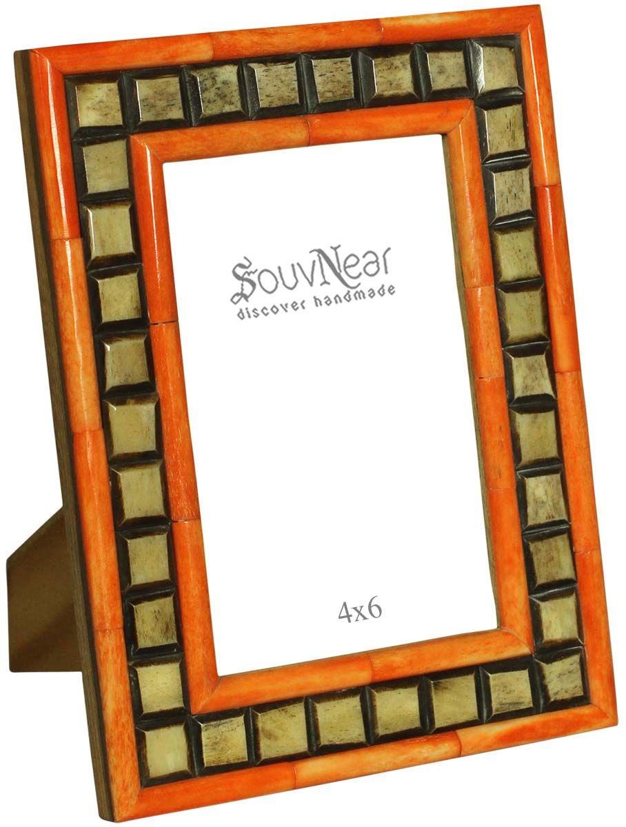 Rectangular Photo Frame in MDF & Bone – Beige, Black & Orange ...