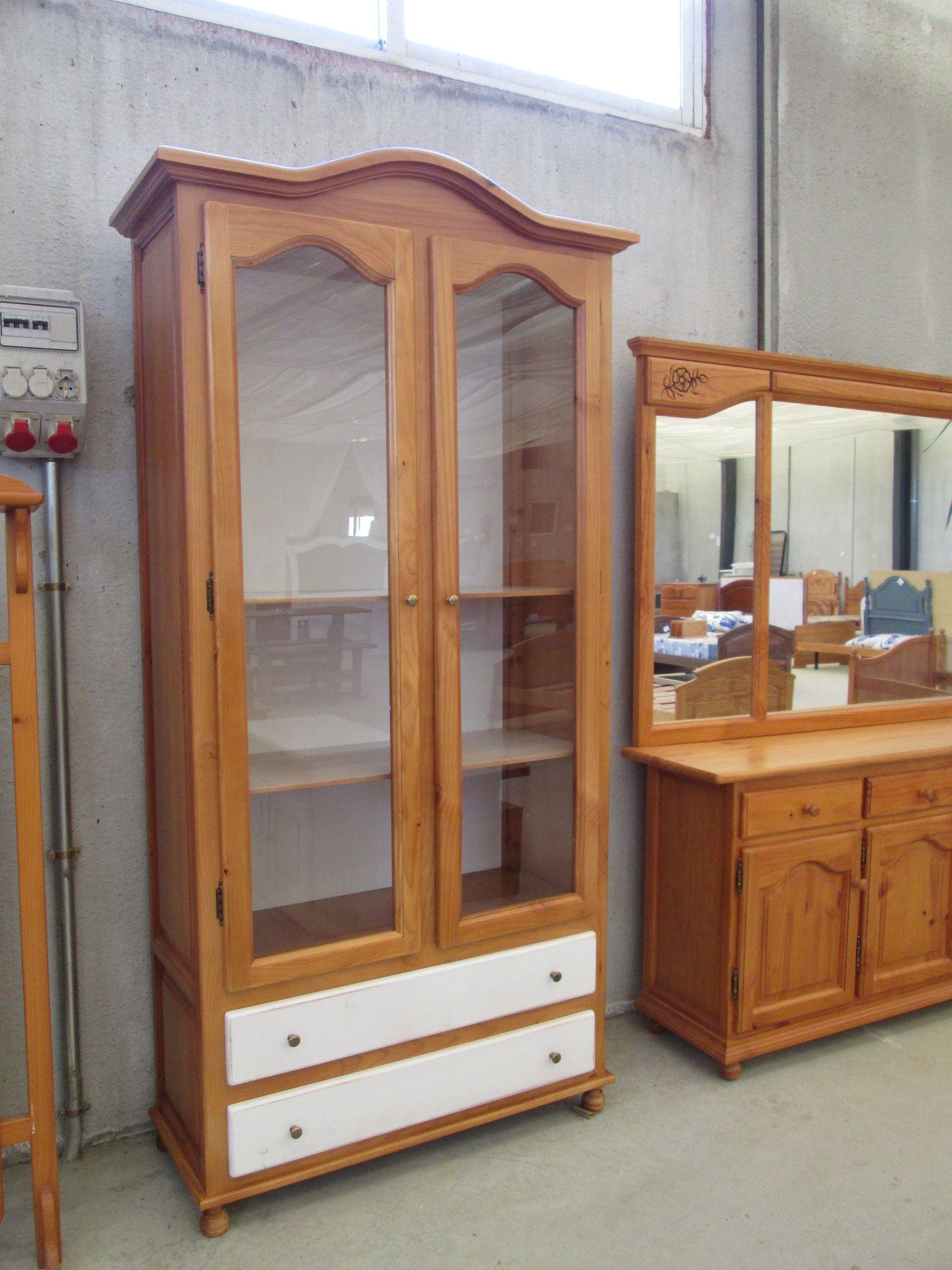 Mueble-vitrina de madera maciza en estilo provenzal de 100cm de ...