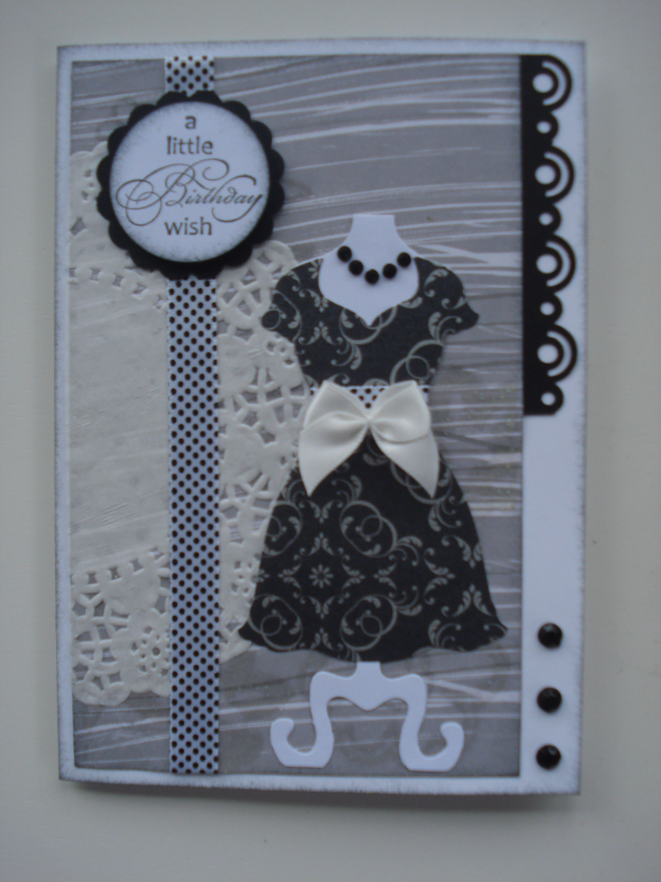And yet another quick card with a doily and my Stampin Up dress die.