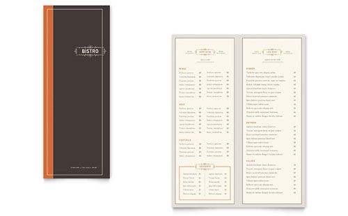 Bistro \ Bar Take-out Brochure Template Design StockLayouts - microsoft word menu templates