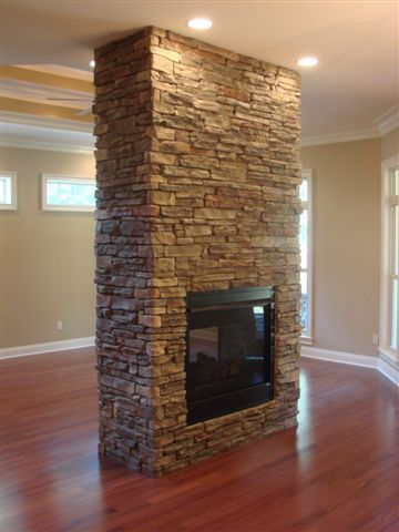 Room Freestanding Stone Fireplace