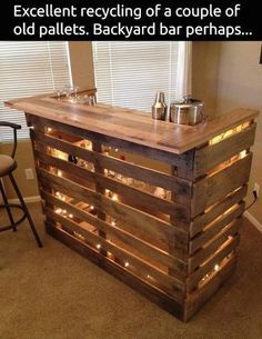 Great Use Oak Pallets To Create A Small Bar Space. I Love How It Is Lit