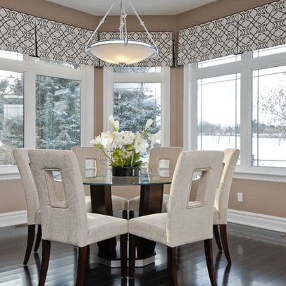 I Like The Continuous Look Versus A Valance For Each Window Modern Kitchen Window Dining Room Contemporary Modern Window Treatments