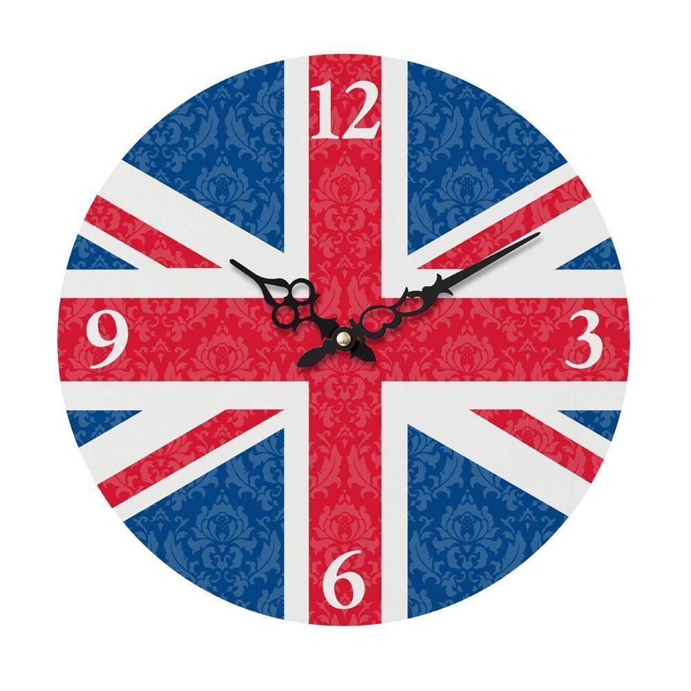 Wall Clock Union Jack Red White Blue Novelty London Flag Mdf 34cm