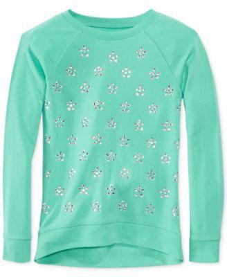 Epic Threads Girls' Sequin Statement Sweatshirt|  Flower Rhinestones Aqua Bliss Sweater (Epic Threads)