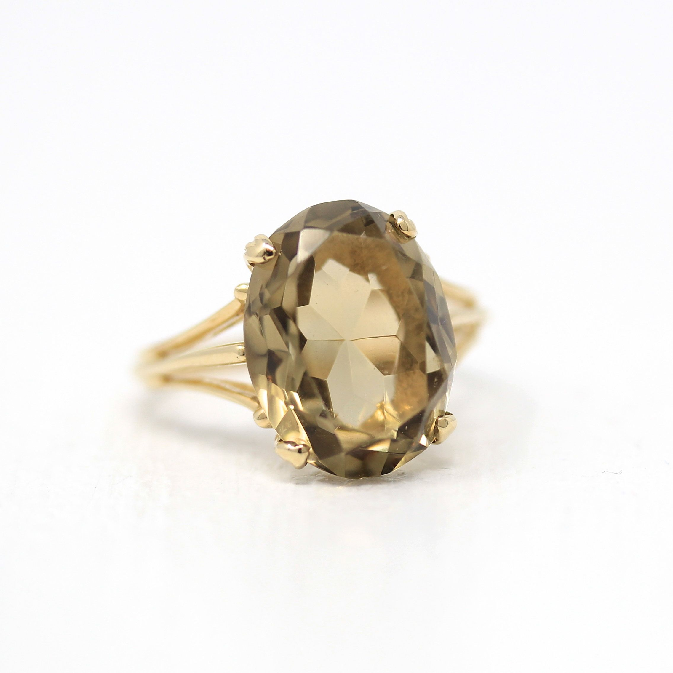 Genuine Citrine Ring Vintage 10k Yellow Gold Brown Yellow 8 Carat Quartz Gem Statement Size 8 Retro November Bi Genuine Citrine Citrine Ring Vintage Rings