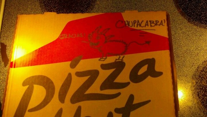 We told pizza hut to draw a chupacabra on our pizza box Well done