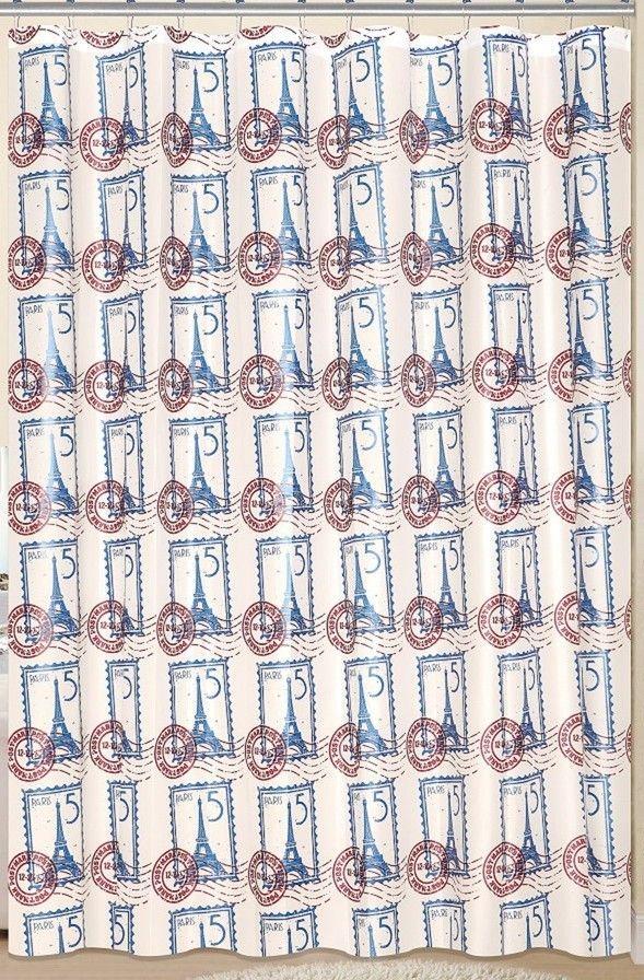 Paris 13 Piece Printed Peva Shower Curtain Set