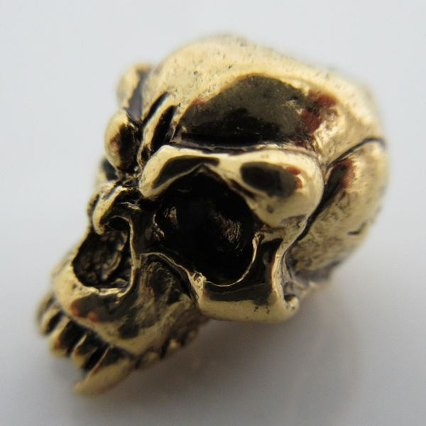 Fang Skull Bead in Antique Gold Finish by Schmuckatelli Co.