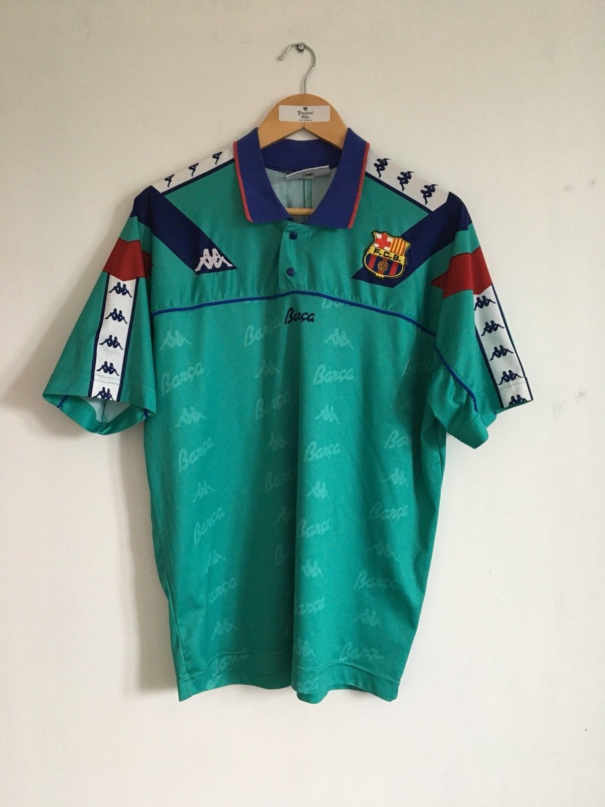 6fe645c1dc Retro BARCELONA Away 1992/95 Football Shirt (L) Vintage Spain Kappa Jersey  Top | eBay