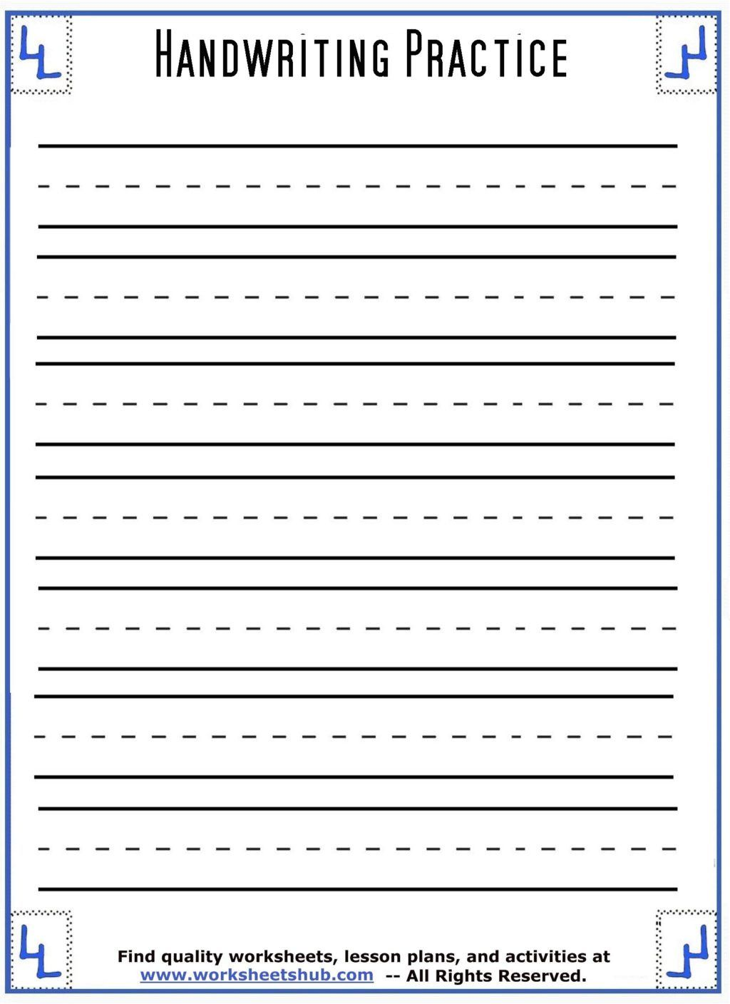 Blank Handwriting Worksheets for Kindergarten Worksheet