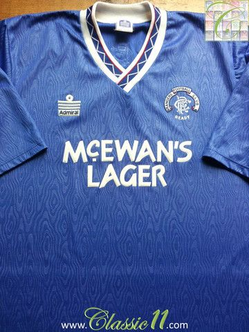 29bb95215e2 Relive Glasgow Rangers' 1990/1991 season with this vintage Admiral home  football shirt.