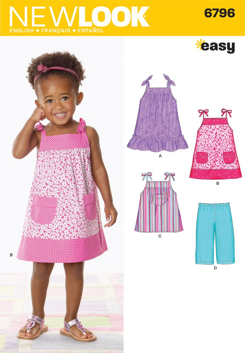 Toddler Dress, Top and Pants Sewing Pattern 6796 New Look | Kid ...